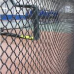 Baseball barrier net in a gymnasium